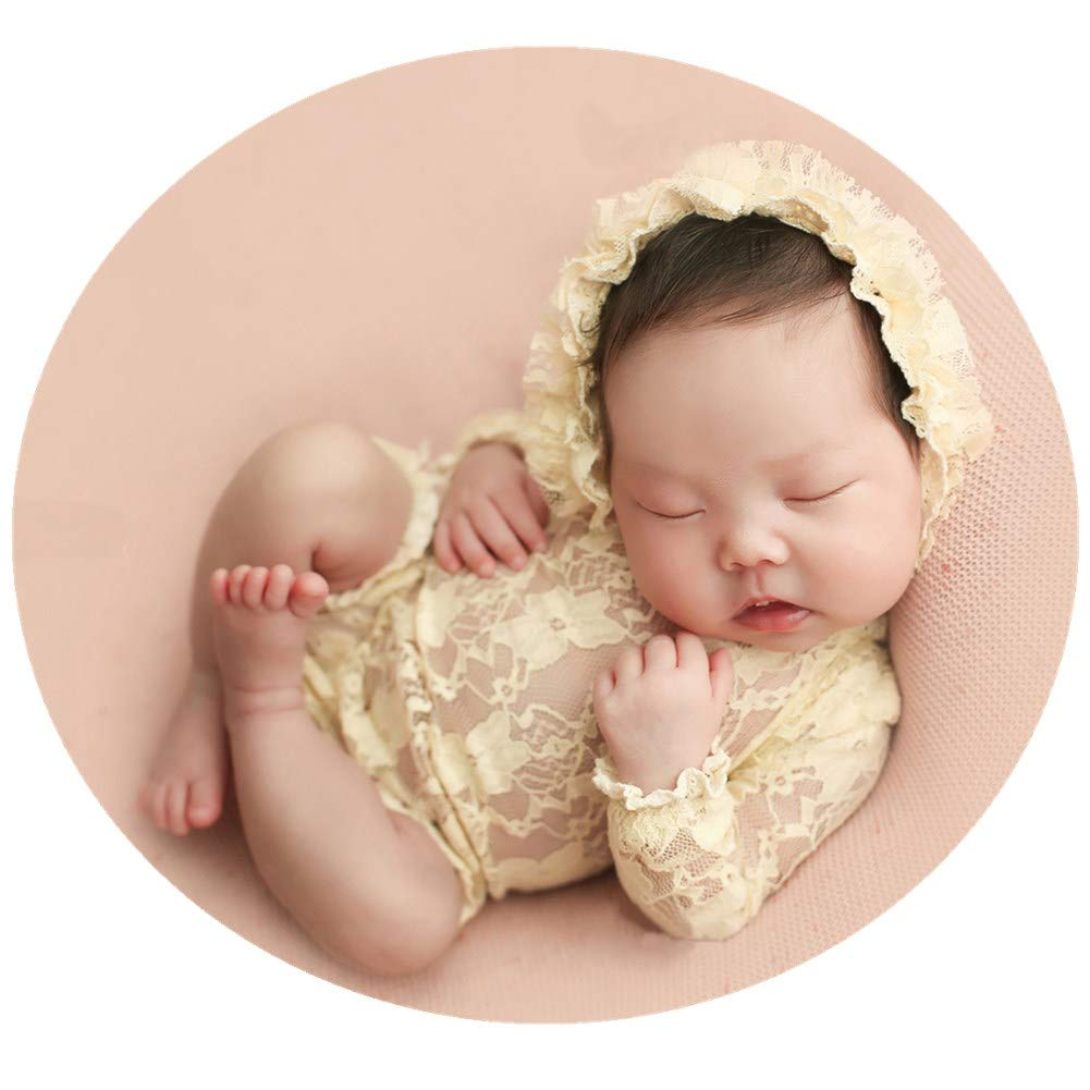 Baby Photography Props Lace Hats Rompers Newborn Girl Photo Shoot Outfits Hat Set Infant Princess Costume (Beige)