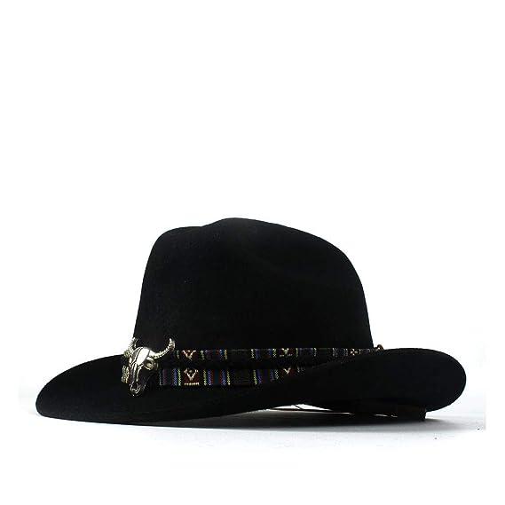 905c7d5818554 SSLA 2018 Wide Brim Western Cowboy Jazz Hat Cap Men Women Wool Felt Fedora  Hats Alloy