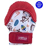 Baby : Nuby Soothing Teething Mitten with Hygienic Travel Bag, Red