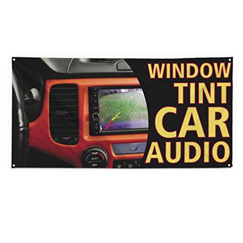 Window Tint Car Audio Outdoor Fence Sign Vinyl Windproof Mesh Banner With Grommets - 5ftx10ft, 10 Grommets (Destination Audio)