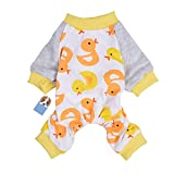 Per Dog Cat Pajamas with Cute Duck Pattern and Four Feet Design, Pet All Season PJS Jumpsuit for Small and Medium Sized Dog Puppy Cat Kitten - XS/S/M/L/XL