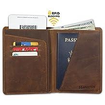 RFID Blocking Travel Passport Wallet - Genuine Crazy Horse Leather (Brown)