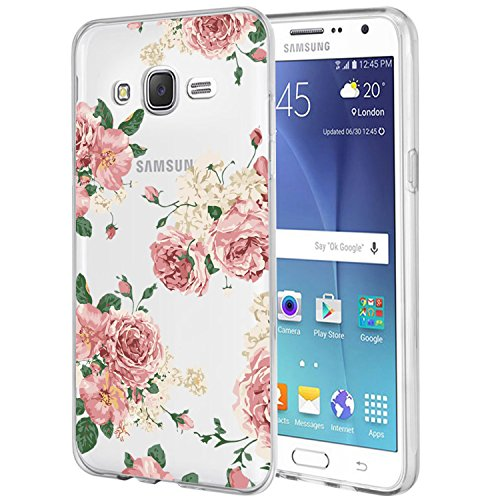 Galaxy J7 Case,J700 Case with Flowers, Ueokeird Slim Shockproof Clear Floral Pattern Soft Flexible TPU Back Cove for Samsung Galaxy J7 J700 (2015) (Pink Flowers) (Samsung Virgin Mobile Phone Cases)
