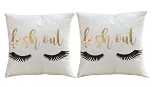 Kpblis Pillow Covers Bronzing Flannelette Home Decorative Square Throw Cushion Cover Sofa Waist Cushion Pillowcase Eyelashes Letters Lash Out, Gold Foil Pattern Prints - Set of 2, 18 x 18 in