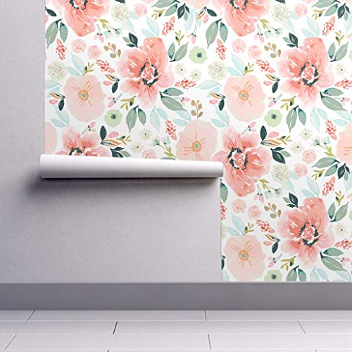 Peel-and-Stick Removable Wallpaper - Floral Watercolor Modern Chic Blooming Garden Girl Nursery by Indybloomdesign - 24in x 96in Woven Textured Peel-and-Stick Removable Wallpaper - Lily Tiger Nursery