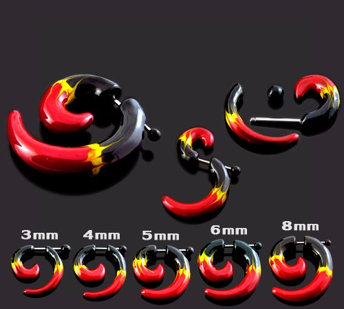 Bijou Corps Plug oreille fantaisie Spirale UV Flame peinte à la main avec Barbell en acier chirurgical 316L