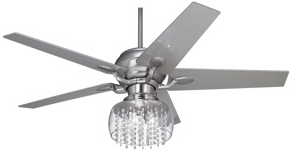 52'' Casa Optima Brushed Steel and Crystal Ceiling Fan