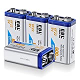 EBL 9V Lihtium Batteries 6F22 Li-ion 600mAh Rechargeable Lithium-ion 9 Volt Battery 4 Pack
