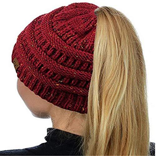 - HGWXX7 Women Warm Baggy High Bun Ponytail Crochet Knit Artificial Wool Winter Ski Beanie Skull Caps Hat(One Size,Wine Red)