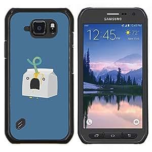 LECELL--Funda protectora / Cubierta / Piel For Samsung Galaxy S6Active Active G890A -- Carácter Leche Minimalista Azul --
