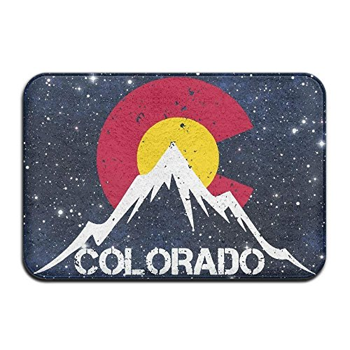 Haipaul Indoor/Outdoor Area Rug Floor Mat with Vintage Colorado Flag Moutain Pattern for Patio Or Entryway