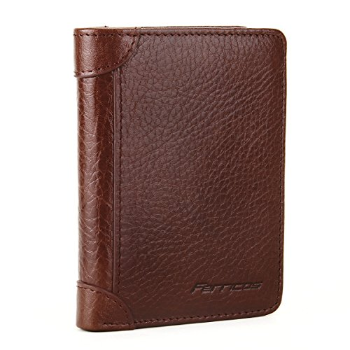 Ferricos RFID Men Cowhide Leather Portrait Short Purse Extra Capacity Trifold Inner Pocket Wallet Card Case Cash Coin Bag Money Clip ID Photo Holder Men's Gift Series 1 Light Coffee