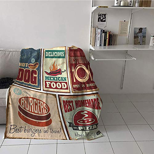 alilihome Children's Blanket Travel Blanket for Sofa Couch Bed (70 by 90 Inch,1950s Decor,Nostalgic Tin Signs and Retro Mexican Food Prints Aged Advirtising Logo Style Artistic Design,Multi