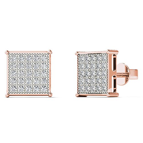 JewelAngel Women's 10K Rose Gold 1/8 Carat TDW Diamond Classic Square Stud Earrings (H-I, (Tdw Diamond Square Earrings)