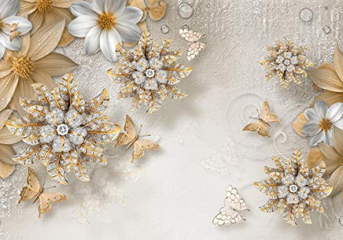 (wandmotiv24 Wall Mural Gold Gemstones Flowers Drop Concrete Wall Butterflies Ornaments M4683 L 118.1 x 82.6 inches - 6 Parts Mural - Motif Wallpaper)