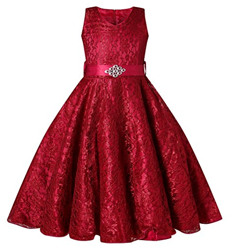 BEAUTY CHARM Girls Tulle Lace Glitter Vintage Pageant Prom Dresses with Belt Wine Red