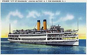 Battery, New York - View of the Steamer City of Keansburg Heading towards Keansburg, NJ (9x12 Art Print, Wall Decor Travel Poster)