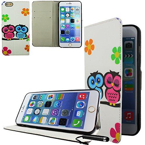 Ownstyle4you - APPLE IPHONE 6S PLUS Etui Wallet Coque Housse PREMIUM Portefeuille Eco Cuir Side OWL COUPLE Protection Pare-Chocs Goutte Absorption des Chocs + Protecteur d'écran tactile