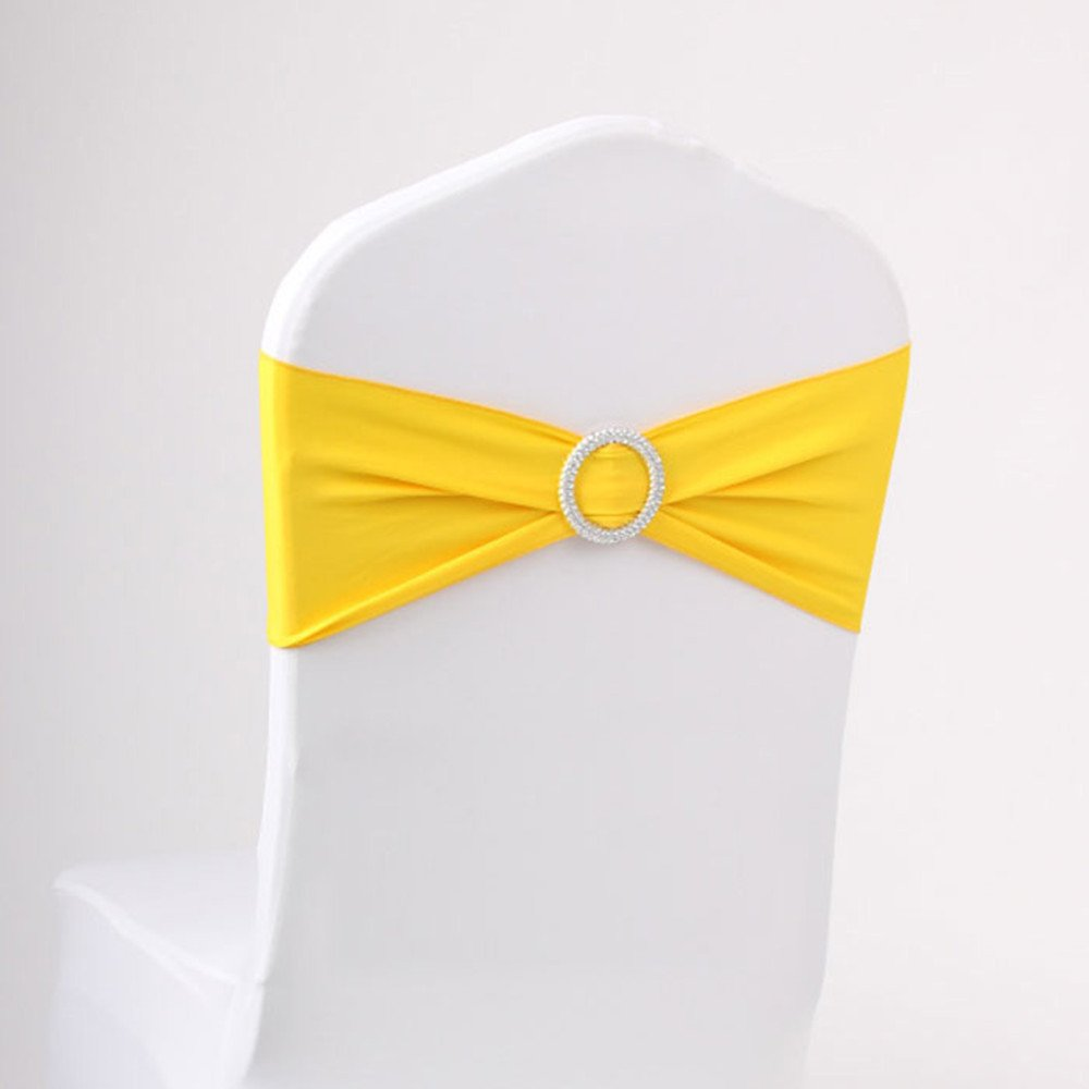 LOVWY 20 Colors Optional Spandex Stretch Pack Of 50 PCS Chair Sashes Bows For Wedding Party Engagement Event Birthday Graduation Meeting Banquet Decoration (50 PCS, Yellow)