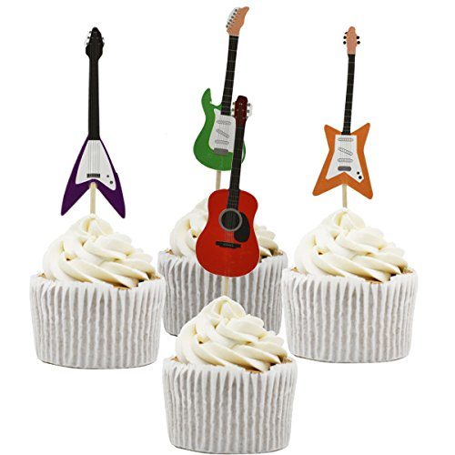 Betop House Set of 24 Pieces Guitar Themed Decorative Cupcake Topper for Music Party -