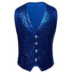 Men's Single Breasted Sequin Tuxedo Waistcoat