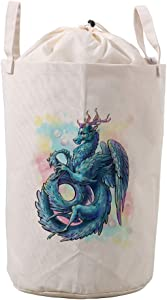 ColourLife Waterproof Canvas Laundry Hamper Basket Blue Feathered Dragon Foldable Toy Clothes Storage Organizer Bins with Handles
