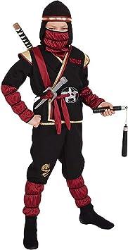Amakando Disfraz de Guerrero Ninja para niño Negro-Rojo Oscuro en ...
