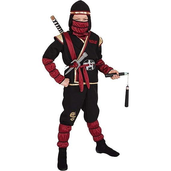 NET TOYS Luchador Ninja Disfraz para niños | Negro-Rojo ...