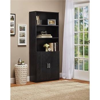 ameriwood 3 shelf bookcase with doors black ebony ash kitchen dining. Black Bedroom Furniture Sets. Home Design Ideas