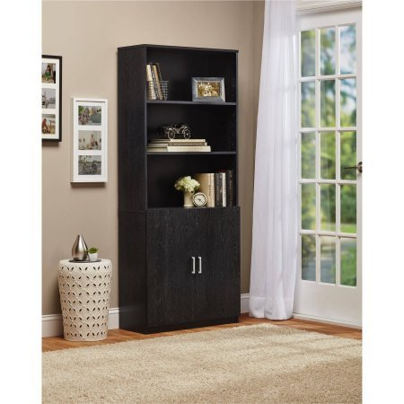 - Ameriwood 3-Shelf Bookcase with Doors - Black Ebony Ash