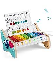 TOP BRIGHT Xylofonleksak i trä för småbarn 1 2 år gamla pojkar och flickor babygåvor, barn Glockenspiel musikinstrument för barn två år gamla med klubbor