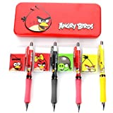 Angry Birds by Rovio Back to School Set of 3 ONE Red Red Bird Tin Pencil Case with ONE RANDOM Eraser and ONE RANDOM Mechanical Pencil