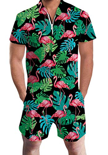 Men's Rompers Male Zipper Jumpsuit Shorts Black Tropical Hawaiian Aloha Weed Leaves Flamingo Printed One Piece Slim Fit Outfits Bro Short Sleeve Overalls