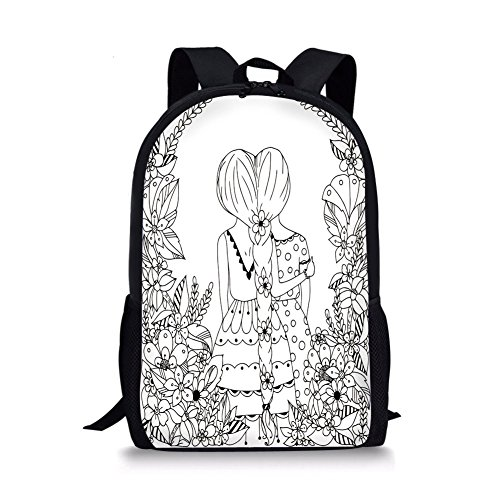 Hugging Bean Bag (iPrint School Bags Doodle,Girlfriends Conjoined Ponytails Hugging Friendship Coloring Book Style Design,Black White Boys&Girls Mens Sport Daypack)
