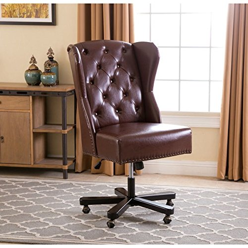 ABBYSON LIVING Maxwell Light Brown Leather Office Chair by Abbyson Living