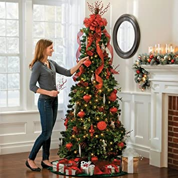 Pre-lit Noble Pine Pull-up Christmas Tree-6-1/2' Collapsible POP ...