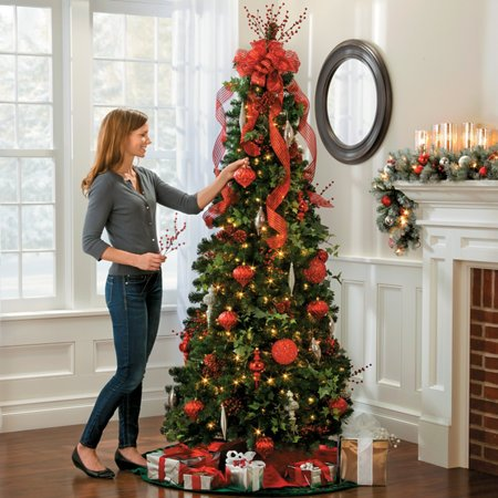Pre-lit Noble Pine Pull-up Christmas Tree-6-1/2' Collapsible POP up ...