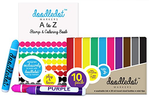 Doodle Dot MINI TIP BINGO DAUBERS, TRAVEL SIZED Set of 10 WASHABLE Paint Markers with MINI DOT A to Z ACTIVITY BOOK INCLUDED; Bingo, Mini games, Education, crafts, learning, busy bag supplies for kids (Mini Bingo)