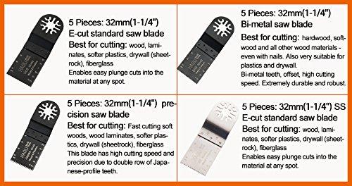 HAOLI Oscillating Tool Saw Blades For Fein Multimaster,Dremel,Bosch Makita,Einhell,Skil (Not valid for Bosch star lock) (HL20-1)