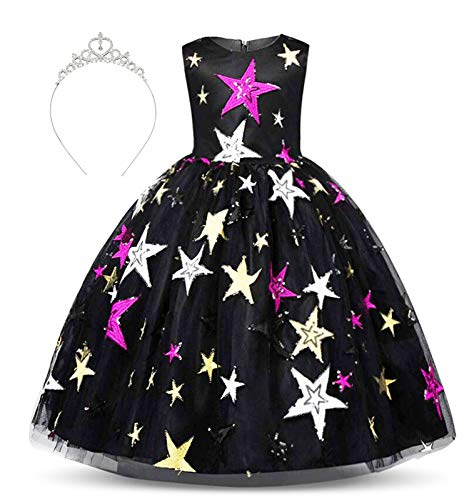 Crown Princess Belt (Girls Dress Embroidered Pentacle Tulle Bowknot Belt Princess with Accessories Crown Age of 5-6 Years(Black))