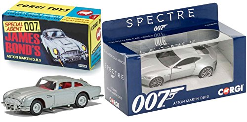 Spectre Aston Martin DB10 1:36 + Goldfinger James Bond Car Set Aston (Mach 5 Replica Car)