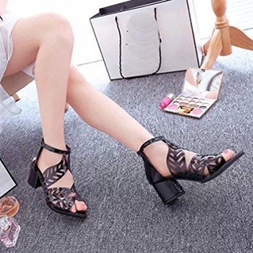 JITIAN in Caviglia Toe Donne 1 Gabbia Bootie Scivolo Strap Anti Sandali Peep Sandalo Tacco Cerniera Sexy Nero Piattaforma Grosso Zeppa g1rxgS