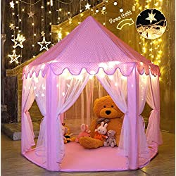 "Ejoyous Gift for Girls Age 5/6/7/8/9, Play Tent for Girls, Playhouse for Kid, Princess Castle Game for Indoor Outdoor with Star LED Lights, Large, Pink, 40""40"""