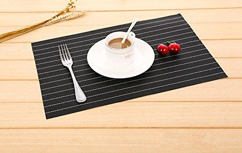 Striped Woven PVCプレースマット、ビニールノンスリップ耐性Washableテーブルキッチンダイニングテーブル食事マット、17.7