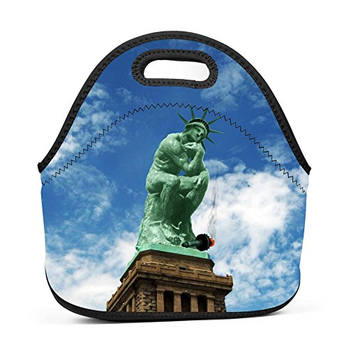 (Tnilsk Lunch Tote The Contemplative Statue Of Liberty Lunch Bag for Unisex-Daily work, school, field, travel,Thick Insulated Thermal Waterproof Lunch Box Carry Case)
