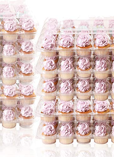 (10 Pack) 24 Cupcake Carrier - High Tall Dome Clear Containers Thick Plastic Disposable Storage Boxes. 2 Dozen Compartments Slots Holder Cupcakes Box Tray Container. Cup Cake Holders By Cakes Of Eden