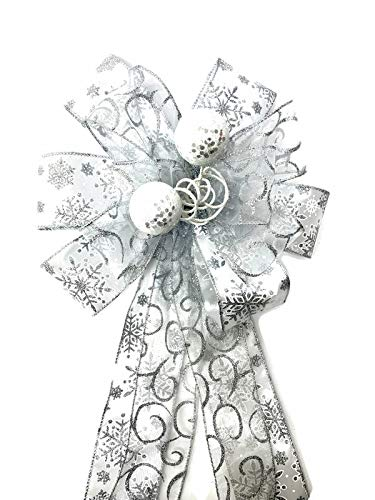 Silver Snowflake Christmas Tree Topper Silver Large Gift Bow Banister Bow Christmas Bows Snowflake Wreath Bows Lantern Bow Door Bows Swag Bow