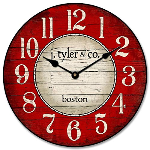 Boston Harbor Red Wall Clock, Available in 8 Sizes, Most Sizes Ship The Next Business Day, Whisper Quiet. ()
