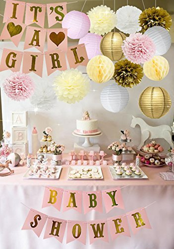 Shower Baby Cute (Baby Shower Decorations Party Supplies & Cute Its A Girl Banner, Colorful Pompoms, Paper Lanterns & Honeycomb Balls Gender Reveal, Home Decor, Nursery, Birthdays, Favors, and More)
