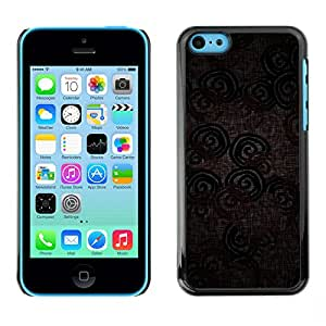 Qstar Arte & diseño plástico duro Fundas Cover Cubre Hard Case Cover para Apple iPhone 5C ( Wallpaper Textile Design Pattern Circle Lines)